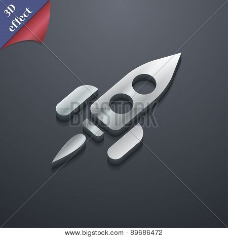 Rocket Icon Symbol. 3D Style. Trendy, Modern Design With Space For Your Text Vector