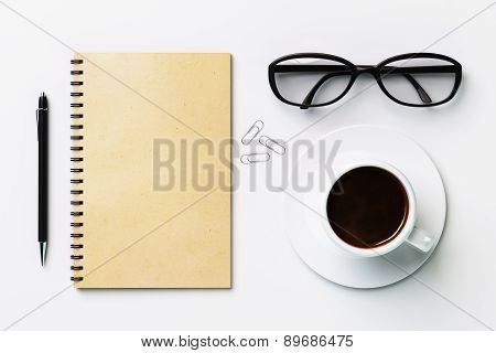 Blank Diary And Coffee Cup, Mock Up