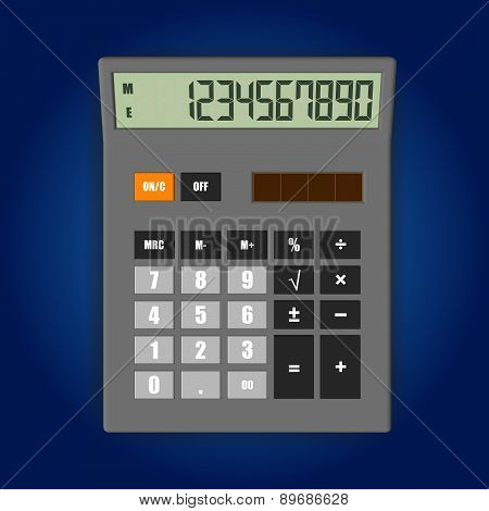Vector illustration of electronic calculator isolated on soft background.