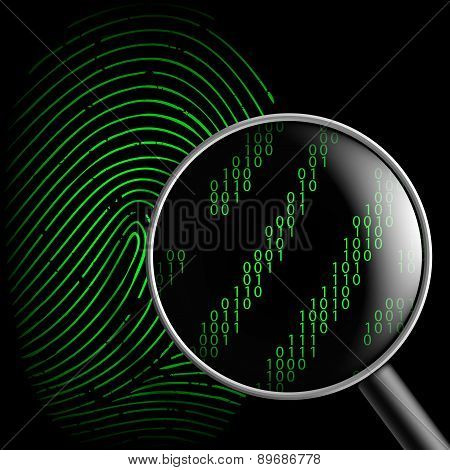 Fingerprint And Magnifying Glass