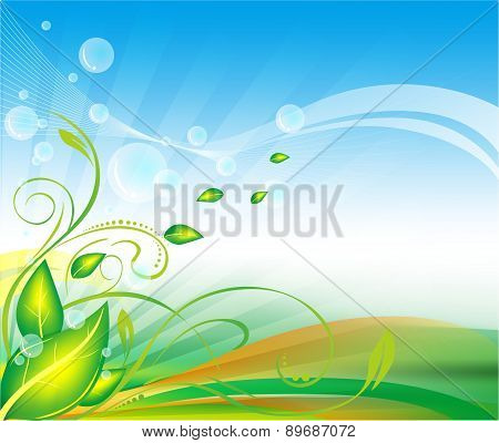 leafs floral background vector