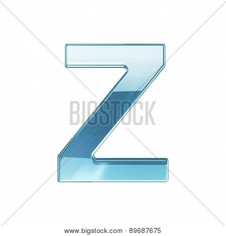 3D Render Of Glass Glossy Transparent Alphabet Letter Symbol - Z Isolated On White Background