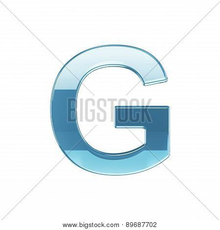 3D Render Of Glass Glossy Transparent Alphabet Letter Symbol - G Isolated On White Background