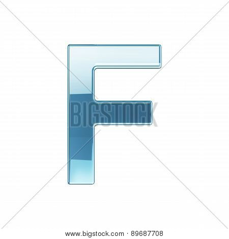 3D Render Of Glass Glossy Transparent Alphabet Letter Symbol - F Isolated On White Background