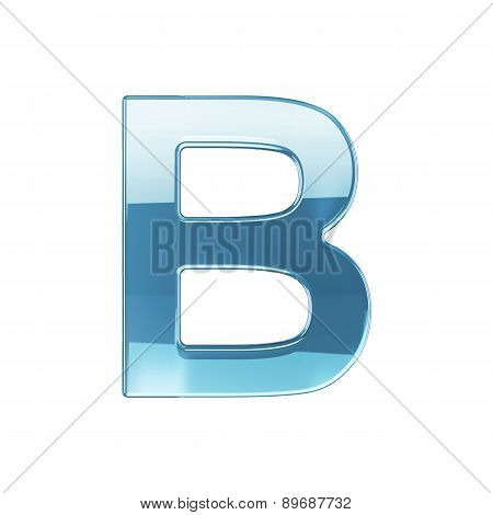 3D Render Of Glass Glossy Transparent Alphabet Letter Symbol - B Isolated On White Background