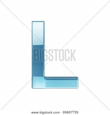 3D Render Of Glass Glossy Transparent Alphabet Letter Symbol - L Isolated On White Background
