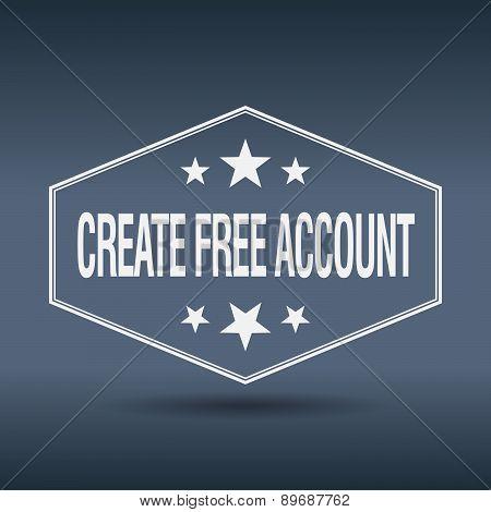 Create Free Account Hexagonal White Vintage Retro Style Label