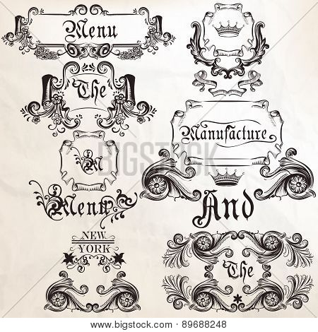 Collection Of Vector Antique Elements Frames And Swirls