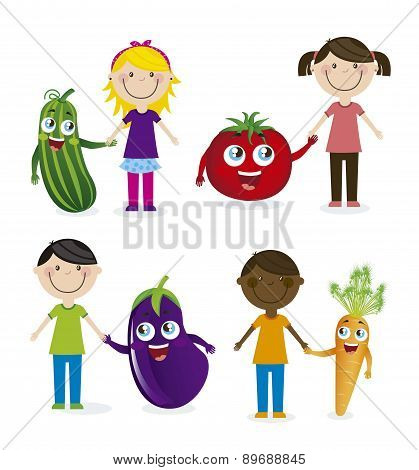 Happy Group Children And Vegetables Vector Illustration