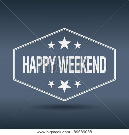Happy Weekend Hexagonal White Vintage Retro Style Label