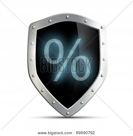 Metal Shield % Sign