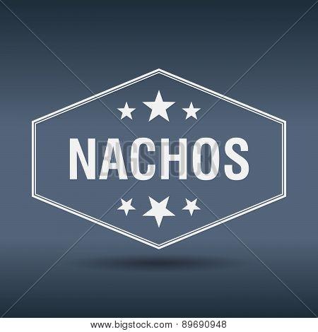 Nachos Hexagonal White Vintage Retro Style Label