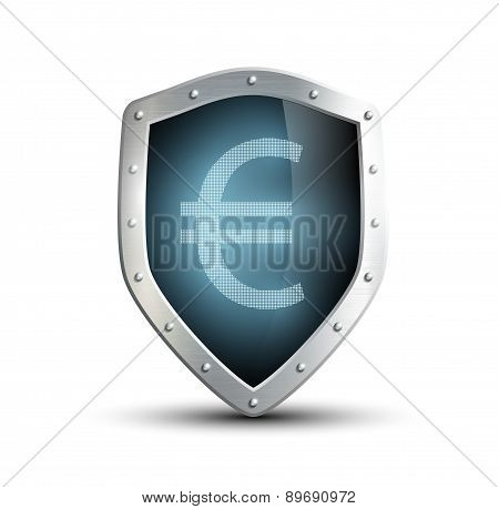 Metal Shield With The Image Of Euro. Isolated On White Backgroun