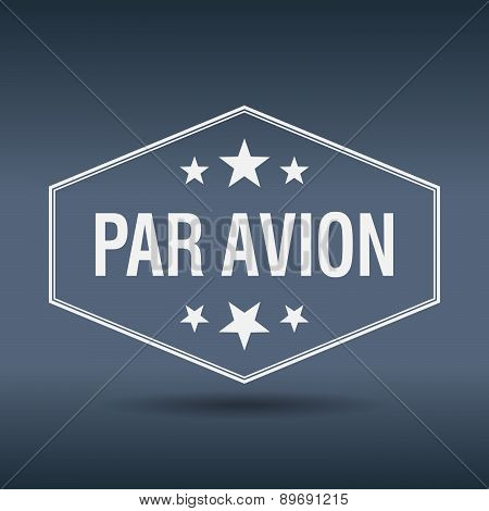 Par Avion Hexagonal White Vintage Retro Style Label
