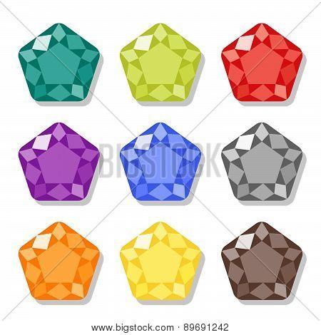 Cartoon Gems Icons Set