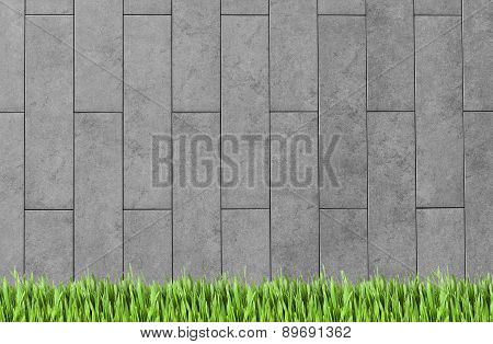 Building Wall And Green Grass Background