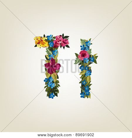 T letter. Flower capital alphabet. Colorful font. Uppercase and Lowercase. Vector illustration.