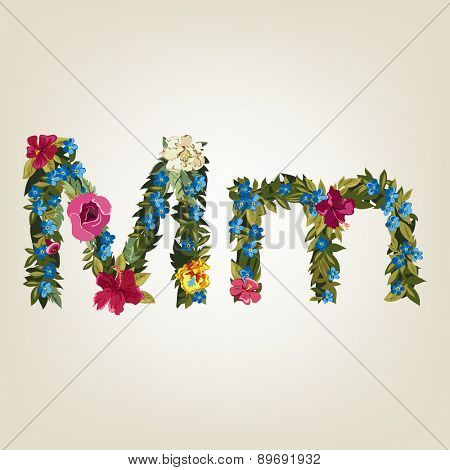 M letter. Flower capital alphabet. Colorful font. Uppercase and Lowercase. Vector illustration.