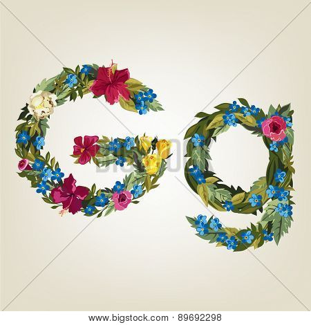 G letter. Flower capital alphabet. Colorful font. Uppercase and Lowercase. Vector illustration.