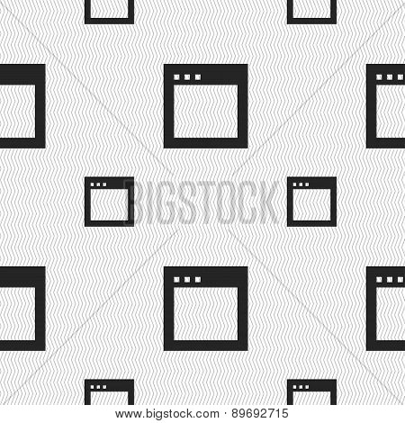 Simple Browser Window Icon Sign. Seamless Pattern With Geometric Texture. Vector