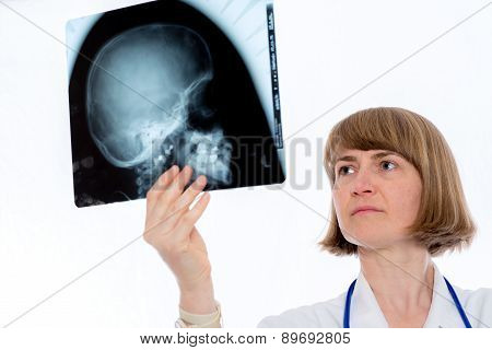 Young Female Doctor With X-ray Photograph