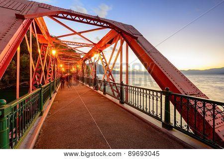 Sansen Bridge spanning Shikotsu Lake in the northern Island of Hokkaido, Japan.