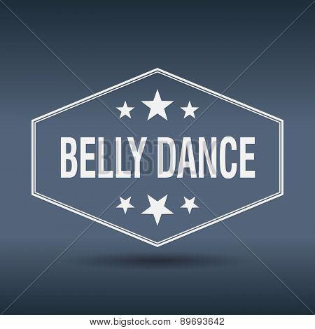 Belly Dance Hexagonal White Vintage Retro Style Label