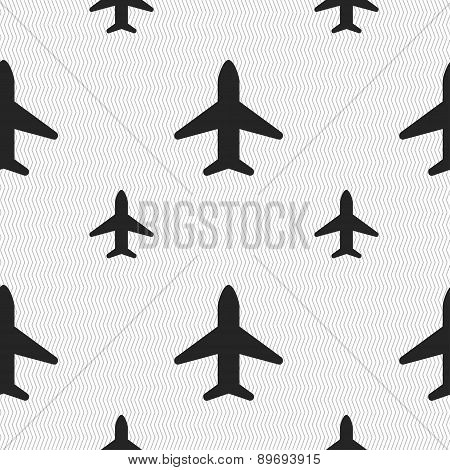 Airplane, Plane, Travel, Flight Icon Sign. Seamless Pattern With Geometric Texture. Vector