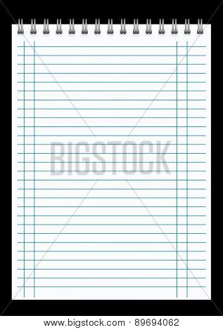 blank realistic spiral notepad notebook isolated on black