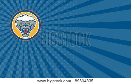 Business Card Honey Badger Mascot Head Circle Retro