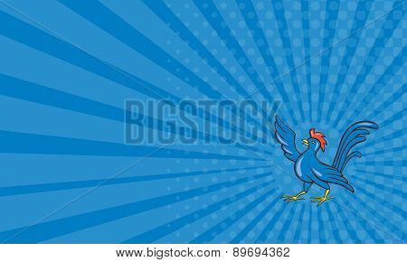 Business Card Chicken Rooster Wing Pointing Cartoon
