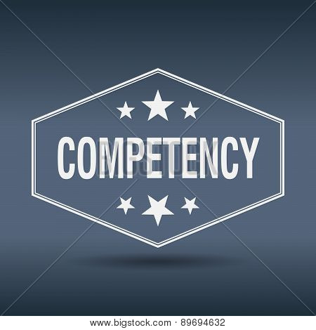 Competency Hexagonal White Vintage Retro Style Label