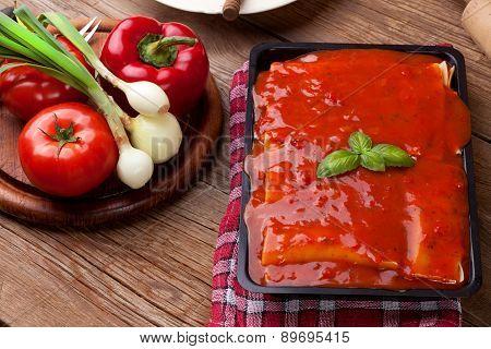 Lasagna With Beef . Italian Cuisine.