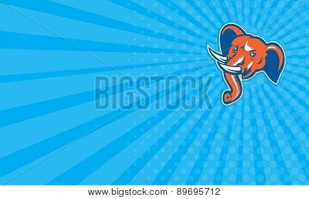 Business Card Elephant Head Angry Tusk Retro