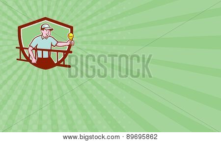 Business Card Electrician Ladder Light Bulb Shield Cartoon