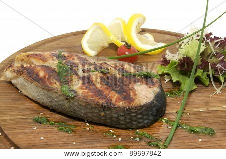piece of grilled salmon