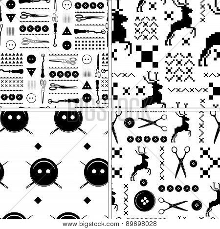 Set of vintage Seamless pattern  tailor and hand made