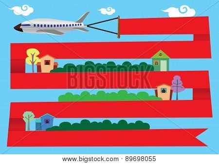Airplane With Red Banner Around Residential Area
