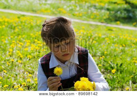 Kid Collects Yellow Dandelions