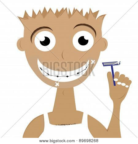 hilarious guy with a razor. Vector illustration