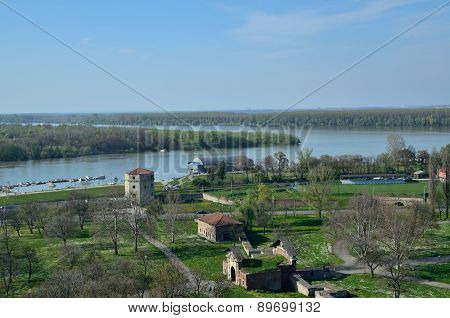 Confluence Of The River Sava Into The Danube