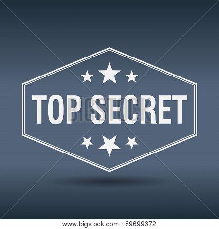 Top Secret Hexagonal White Vintage Retro Style Label