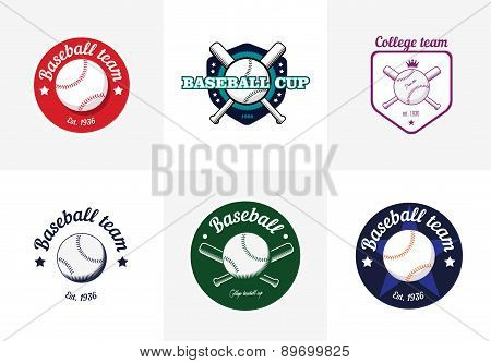 Set Of Vintage Color Baseball Championship Logos And Badges