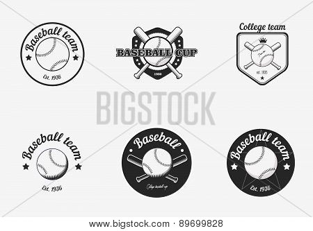 Set Of Vintage Black And White Baseball Championship Logo Badges