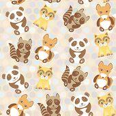 pic of raccoon  - Polka dot background pattern - JPG