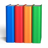 pic of four  - Books blank educational four textbook bookshelf bookcase row standing 4 colorful green orange red blue template - JPG