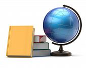 stock photo of geography  - Globe and books blank global geography knowledge studying wisdom literature cartography icon concept - JPG
