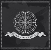 stock photo of compass rose  - Chalkboard nautical shipping compass - JPG