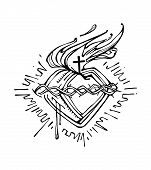 stock photo of sacred heart jesus  - Hand drawn vector illustration or drawing of Jesus Christ Sacred Heart - JPG