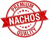 stock photo of nachos  - nachos grunge retro red isolated ribbon stamp - JPG